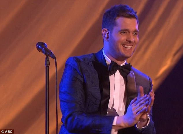 Musical guest: Crooner Michael Buble arrived to provide entertainment during the broadcast