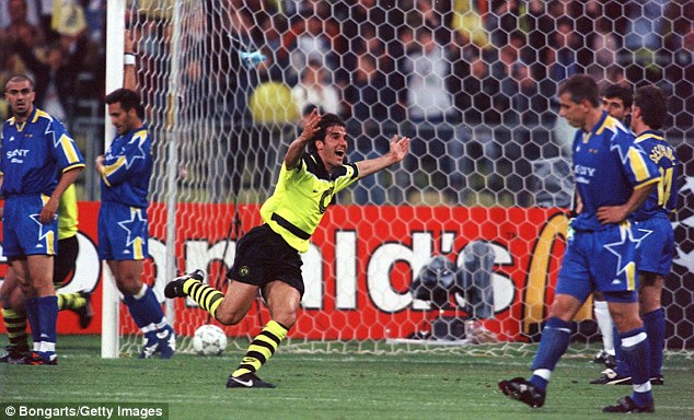 At the double: Karl-Heinz Riedle struck two first half goals to put Dortmund firmly in the driving seat