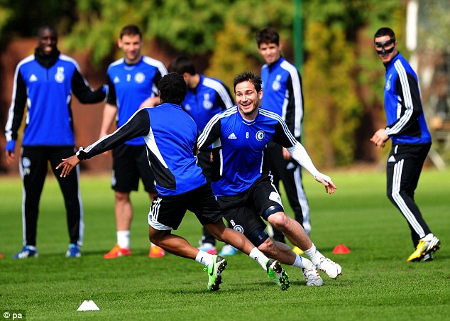 Catch me if you can: Blues stars including Frank Lampard enjoyed themselves on Wednesday morning