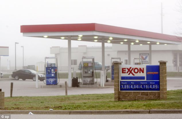 Workplace: The Exxon Mobil gas station in Norton Shores, Michigan - from where Heeringa was snatched. the parent company has pledged a $15,000 reward