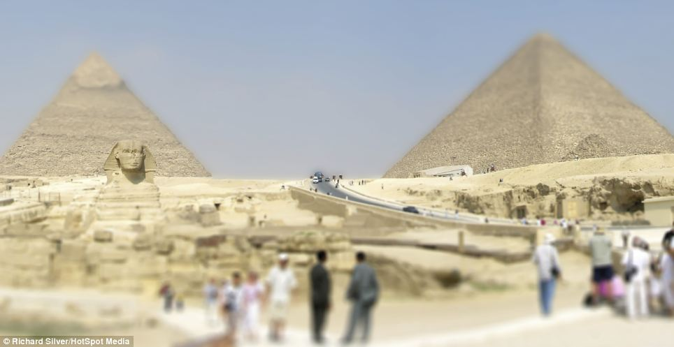 A new view: The Pyramids and the Great Sphinx of Giza, Egypt are given a new look in this mind-bending photo