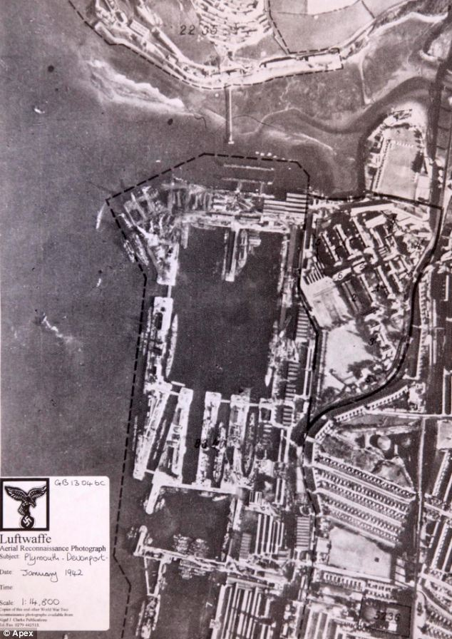 The Plymouth naval base at Devonport taken by the Luftwaffe in January 1942