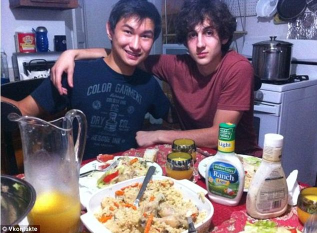 Close: Azamat Tazhayakov, seen here with bomber Dzhokhar Tsarnaev in an undated picture, told police that about a month before the Marathon attack, Dzhokhar said that he knew how to make a bomb