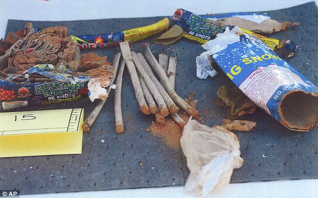 Alarm bells: The friends said that they became concerned that Tsarnaev actually had something to do with the bombings when they found these empty firework containers in his dorm room