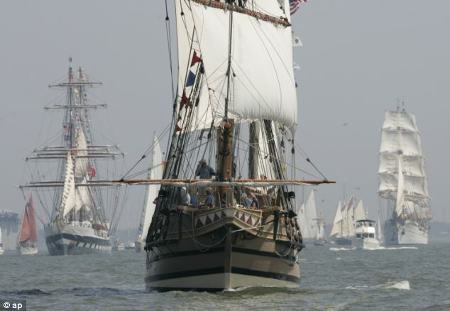The Godspeed, a replica of the boat the first settlers arrived on, leads a parade of Tall ships into Hampton Roads for Sail Virginia 2007 as part of the 400th anniversary of the founding of Jamestown