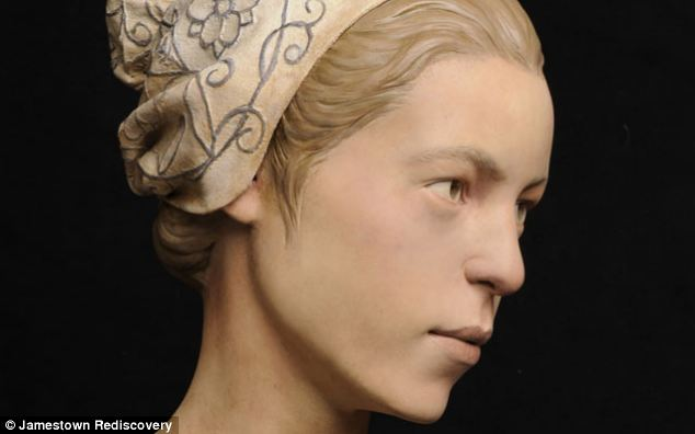 A reconstruction of the face of Jane, a 19 year old who left Plymouth, England, in June 1609 as part of the