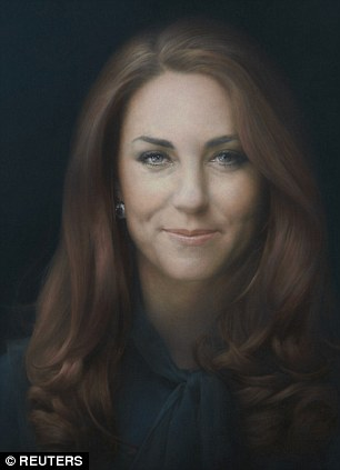 The Duchess of Cambridge after viewing a new portrait by Paul Emsley of herself at the National Portrait Gallery in central London.