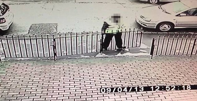 Idea: CCTV captures the man appearing to lift the gate up off its hinges