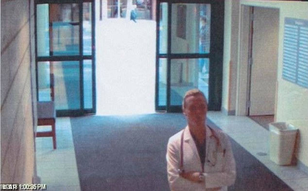 Security breach: Surveillance video shows the imposter, dressed in scrubs, walking around the Billings Clinic in Montana