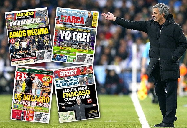 Under attack: Mourinho was given a tough ride by the Spanish media after Real Madrid's Champions League exit