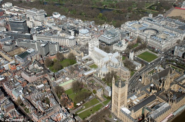 Aerial of Big Ben and the Houses of Parliament
