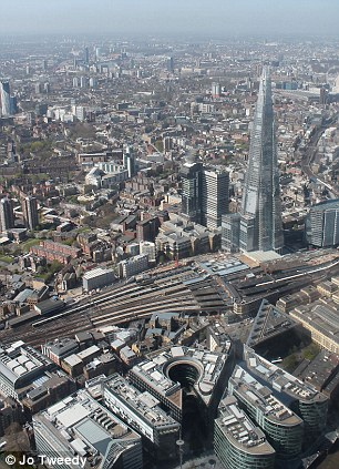 Aerial shot of London's Shard building