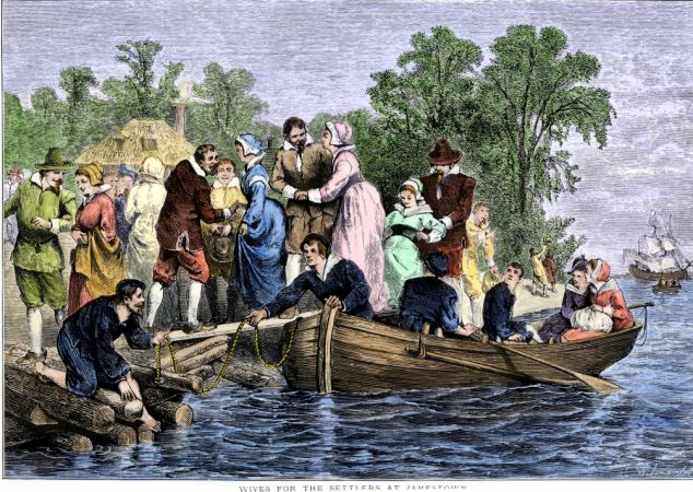 Arrival of wives for the settlers at colonial Jamestown Virginia. The colony was established by the Virginia Company of London as 'James Fort' on May 14th, 1607