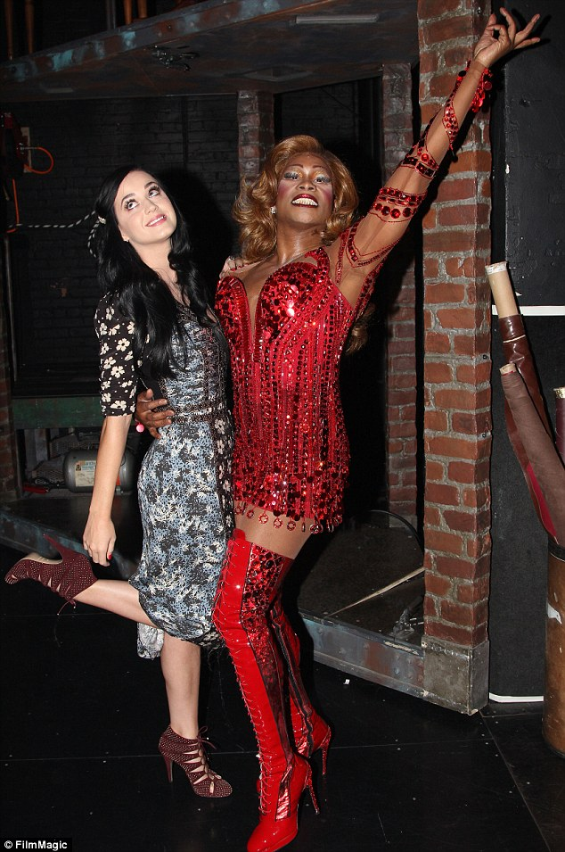Star of the show: Katy happily poses with Kinky Boots star Billy Porter