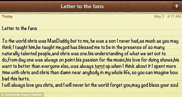 The MacDaddy: Jermaine Dupri wrote an emotional letter to his fans about his relationship with Chris