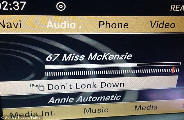 Inspiration: Ashley tweeted an image of her listening to her boyfriend Christopher French's music in her car