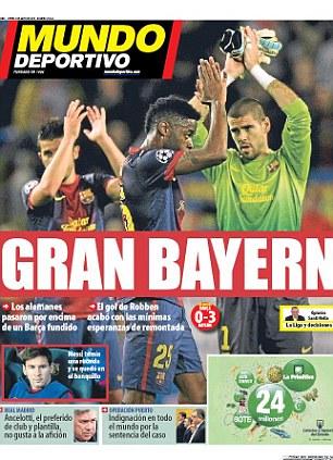 Gran Bayern: Mundo Deportivo front page