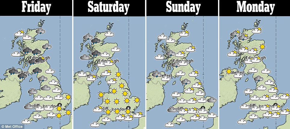 Bank holiday forecast: Tomorrow in central and southern England is expected to be fine with 20C weather