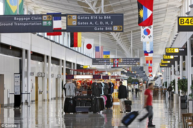 Foreign flavour: Located just outside Washington D.C., Dulles airport has tens of international flights arriving each day requiring U.S. Customs officials to be on the lookout for any strange imports