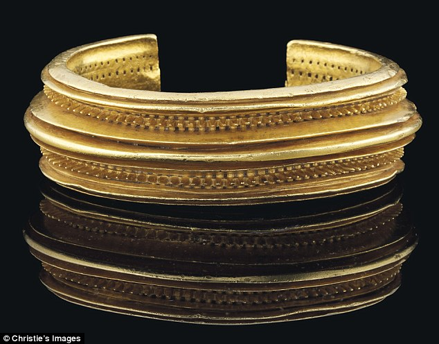 Popular: The intricately designed bracelet, which contains three quarters of a kilo of high-purity gold, sparked a bidding frenzy at the Christie¿s antiquities sale