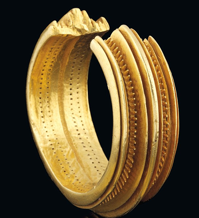 Exquisite: This 3,000-year-old solid gold bracelet has just fetched more than £500,000 at auction -  ten times its pre-sale estimate