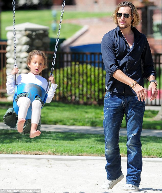Dividing parenting duties: While Halle was away her daughter Nahla was left in the care of her father Gabriel Aubry