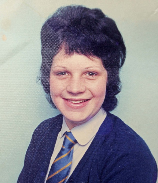Teenage Victim: Kim Wright during her schooldays. Hall might never have been brought to justice if it hadn't been for Kim who is now a retired policewoman