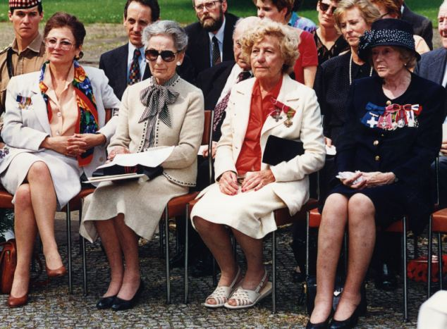 Eileen 'Didi' Nearne (second from right) joins fellow ex-prisoner Odette Hallowes (right) at an unveiling of a plaque at Ravensbruck concentration camp