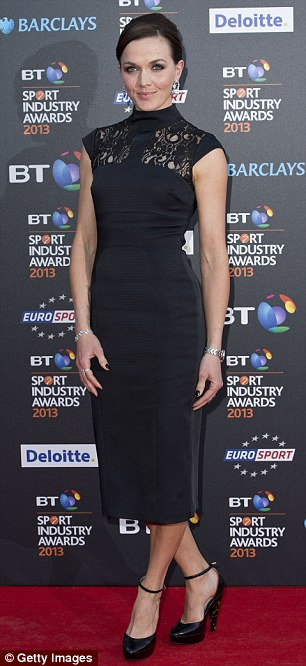Black and white: TV presenter Georgie Thompson (left) opted for a bandeau dress, while Victoria Pendleton wore black lace
