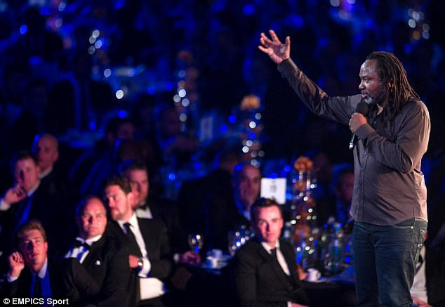 Bad taste? Reginald D Hunter, seen performing at the PFA Awards, drew criticism for his heavy use of the n-word