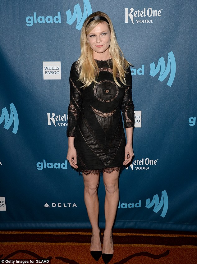 Transformation: Kirsten wore a black lace minidress for the 24th Annual GLAAD Media Awards last month, with a black hair band in her blonde manece minidress for the 24th Annual GLAAD Media Awards last week, with a black hair band in her blonde mane