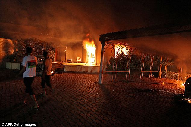 Timeline: The Obama administration apparently altered their talking points heavily in the hours immediately after the attack on the American consulate in Benghazi, Libya (pictured here on September 11, 2011)