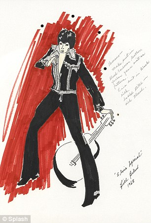 Keepsakes: The Bill Belew costume design for Elvis Presley's '68 Special should fetch between $3,000-$5,000, while the Michael Jackson scribbles should get $2,000-$3,000 each