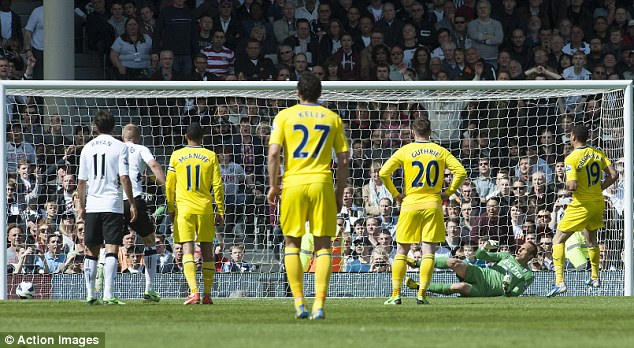 Cool head: Hal Robson-Kanu slotted his penalty home to put Reading a goal up against Fulham