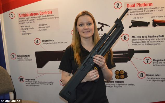 Sorry, guys: Sam is taken. And if the giant diamond on her finger doesn't scare you off, this 16-round shotgun will