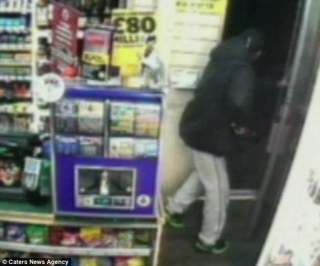 Jailed: Mr Patel emerged from behind the counter to make sure Waller, who has been jailed for five years, was gone