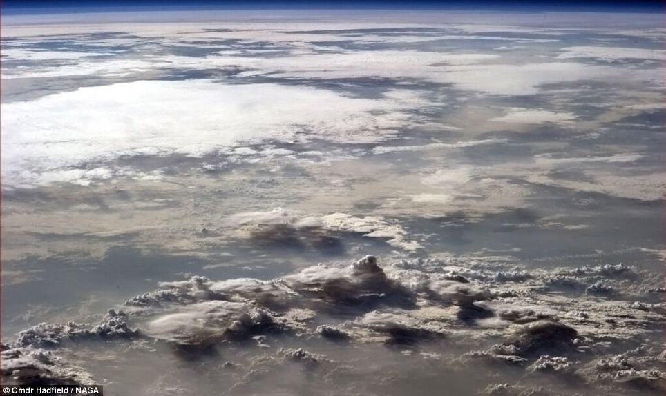 Beautiful: Chris Hadfield has posted dozens of pictures from space online since he arrived at the ISS in December including this taken over Africa