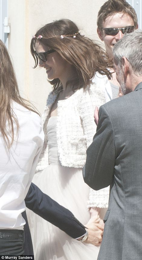 Happy days: Keira Knightley tied the knot with rocker James Righton on Saturday at The Mazan Town Hall, in France