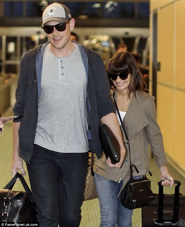 Home time: Cory Monteith and girlfriend Lea Michele flew out of Vancouver, Canada, on Saturday morning after being on vacation following Cory's stay at a drug and alcohol rehabilitation centre