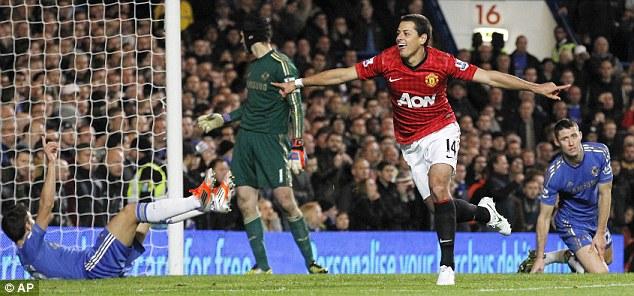 Winning goal: Javier Hernandez celebrates scoring Manchester United's third goal in a 3-2 win at Chelsea back in October
