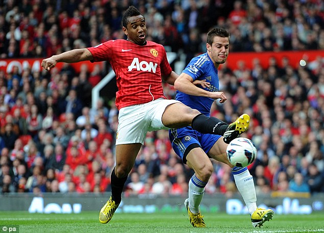 Reach out: Manchester United's Anderson (left) vies for the ball with Chelsea's Cesar Azpilicueta