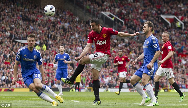 Blocked: Manchester United's Robin van Persie is denied a shot on goal by Chelsea's Cesar Azpilicueta