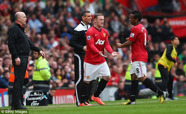 Making changes: Wayne Rooney replaced Anderson for Manchester United