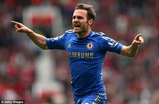 Winning moment: Juan Mata's strike deflects off Phil Jones into his own goal