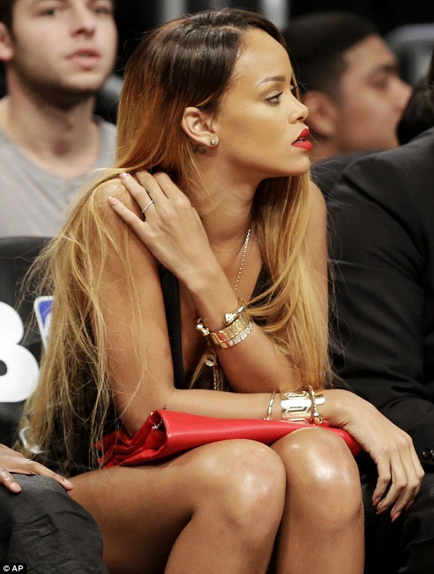 Hoops fan: Rihanna on Saturday watched the deciding seventh game in the first-round NBA basketball playoff series between the Brooklyn Nets and the Chicago Bulls in New York City