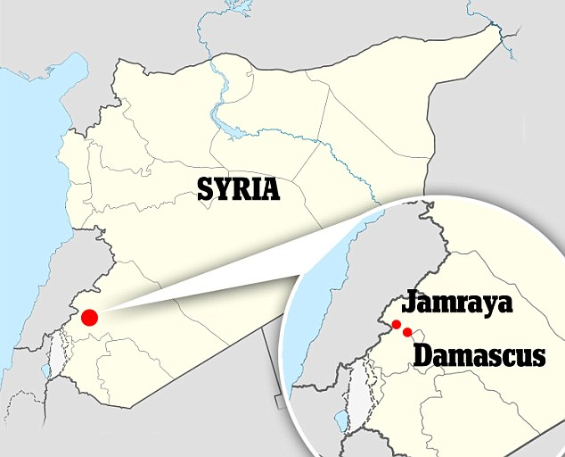 Locator map of Jamraya in Syria  where the regime has a military research facility which Israel is reported to have bombed