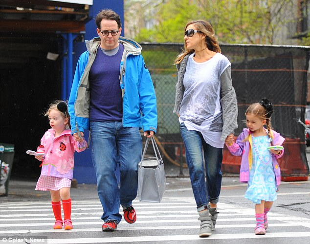 Mother-of-three: Sarah has meanwhile been devoting her time to husband Matthew Broderick and their three children; the couple were spotted on April 29 taking their twins Marion and Tabitha to school