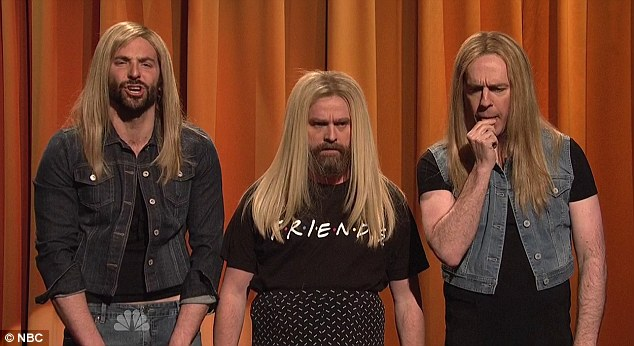Blonde beauties: The actors donned platinum wigs to play contestants in a Jennifer Aniston look-alike contes