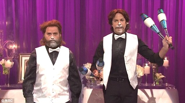 Antics: The host joined Jason Sudeikis in testing the limits as a pair of cocaine-fueled wedding entertainers