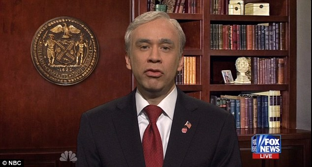 Saturday night satire: Fred Armisen portrayed Mayor Michael Bloomberg during a sketch spoofing Fox News